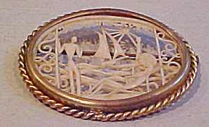 Scrimshaw design celluloid pin (Image1)