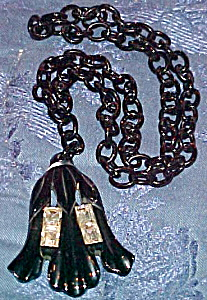 Black Bakelite necklace with rhinestones (Image1)
