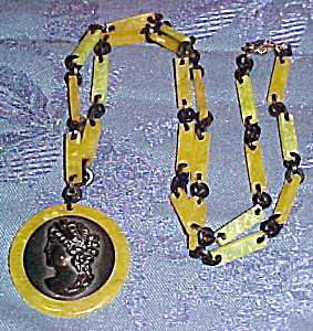 Celluloid necklace with cameo (Image1)