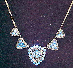 Czechoslovakian necklace w/ blue rhinestones (Image1)
