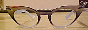 Vintage eyeglass frames blue and black (Image1)