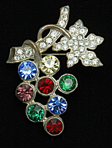 Rhinestone Grape Brooch