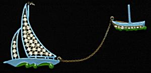 Enameled sailboat brooch (Image1)
