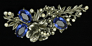 Flower brooch with rhinestones (Image1)