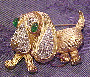 Francoise dog brooch with rhinestones (Image1)