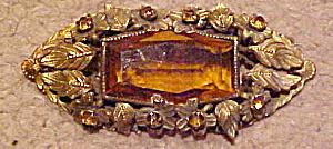 Czechoslovakian brooch w/topaz glass (Image1)