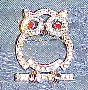 Eisenberg rhinestone owl brooch (Image1)