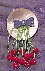 Artist made pin - cherries (Image1)