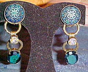 Czech revival molded glass earrings (Image1)