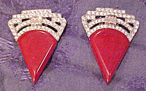 Red Bakelite Art Deco dress clips (Image1)