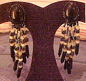 1980s black bead earrings (Image1)