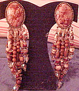 1980s tan stone and crystal earrings (Image1)