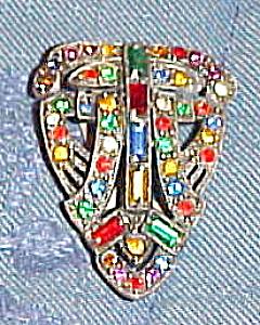 Czechoslovakian rhinestone dress clip (Image1)
