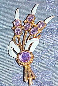 Flower brooch w/ enameling and purple stones (Image1)