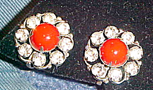Button style earrings with red glass (Image1)