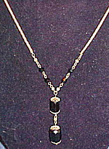 Czechoslovakian necklace with black glass (Image1)