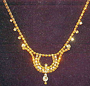 Citrine and topaz rhinestone necklace (Image1)