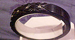 Black plastic bangle with stones (Image1)