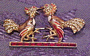 Double bird brooch with rhinestones (Image1)