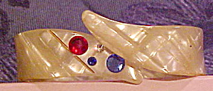 White lucite bangle with rhinestones (Image1)