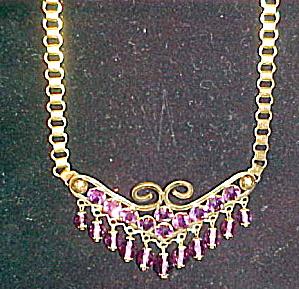 Czechoslovakian amethyst glass necklace (Image1)
