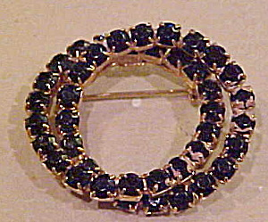 Black rhinestone double circle brooch (Image1)