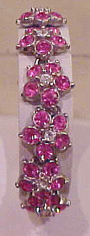 Pink and clear flower rhinestone bracelet (Image1)