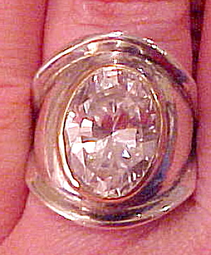 1980s Sterling ring with Cubic Zirconia (Image1)