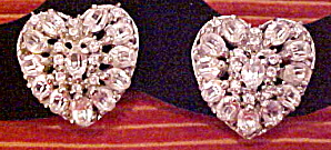 Heart shaped rhinestone earrings (Image1)