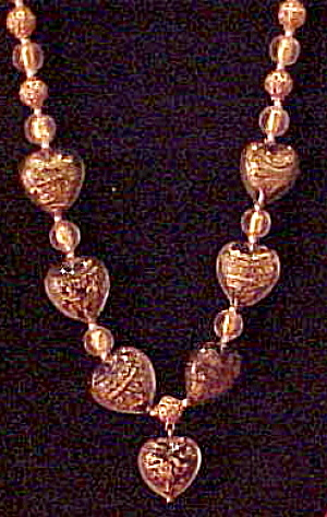 Murano glass heart shaped bead necklace (Image1)