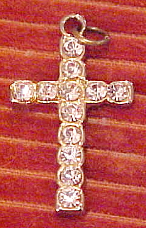 Goldtone cross pendant with rhinestones (Image1)