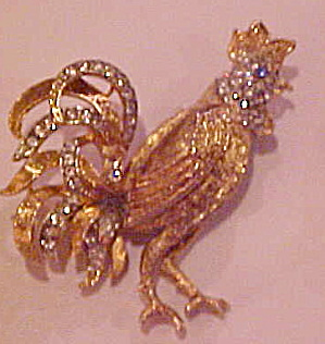 AV Rooster pin with rhinestones (Image1)
