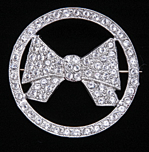 Art deco circle pin with bow - Book Piece (Image1)
