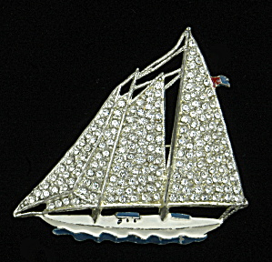 Sailboat pin with rhinestones - Book Piece (Image1)