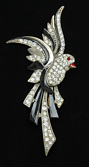 Enamel & Rhinestone Bird pin - Book Piece (Image1)