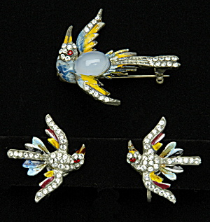 Bird pin and earrings - Book Piece (Image1)