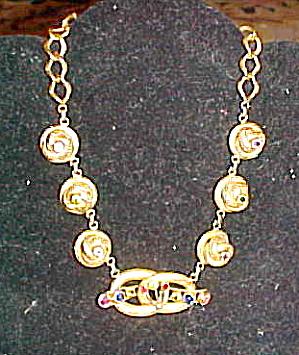 1940s retro necklace with rhinestones (Image1)
