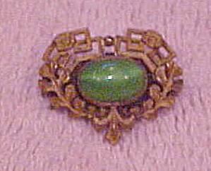 Art Nouveau green cab pin (Image1)