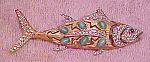 1960s fish pin with cabs and stones (Image1)