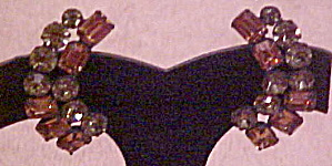 Grey and Rootbeer Rhinestone earrings (Image1)