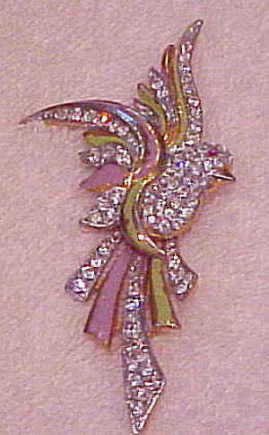 Enameled bird pin with rhinestones (Image1)