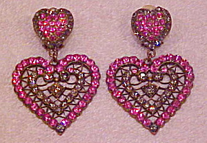 1980s rhinestone heart shaped earrings (Image1)