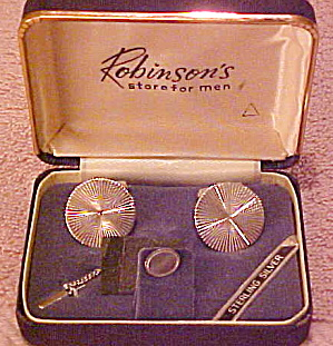 Sterling cufflinks and tie tacks (Image1)