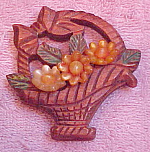 Wood and Lucite flower basket pin (Image1)