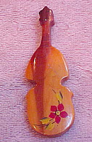 Wood viola musical instrument pin (Image1)