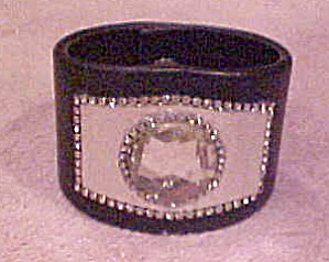 1980s Leather and rhinestone bracelet (Image1)