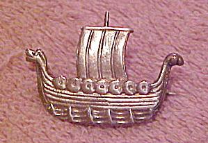 Scandinavian sterling viking ship pin (Image1)