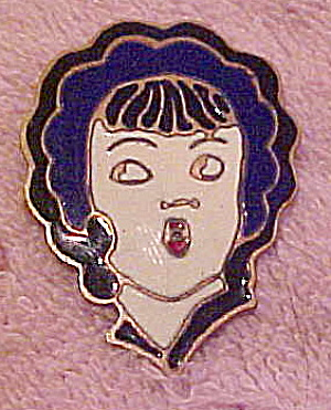 1920s enamel woman's head pin (Image1)
