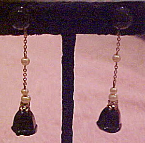 Art Deco glass and faux pearl earrings (Image1)