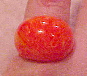 Orange/Red Marbled Bakelite ring (Image1)
